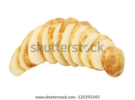 New potato cut isolated on white background close up