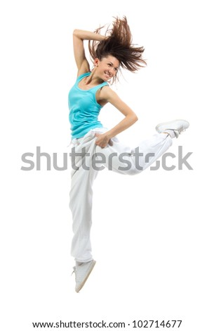 New pretty modern slim hip-hop style woman dancer dancing isolated on a white studio background