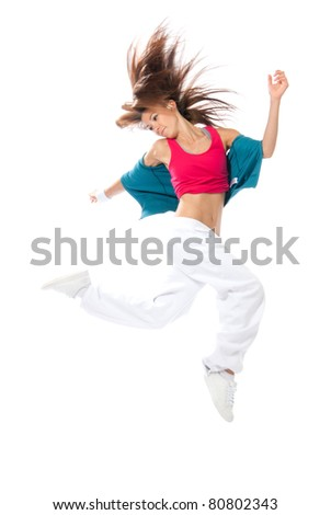 New pretty modern slim hip-hop style woman dancer jumping and dancing isolated on a white studio background