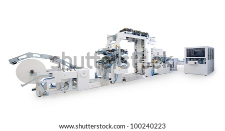 New printing machine, isolated on white background.