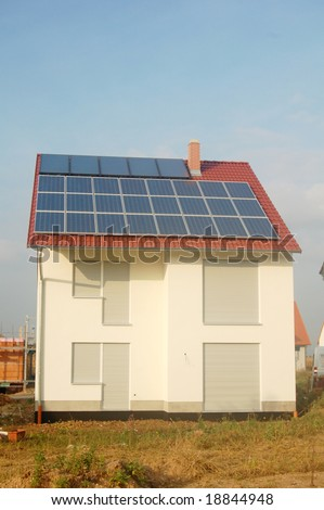 New private house with solar energy panel