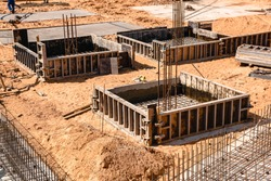 New Property Home Foundation Construction with conrete slab, construction of a concrete Foundation