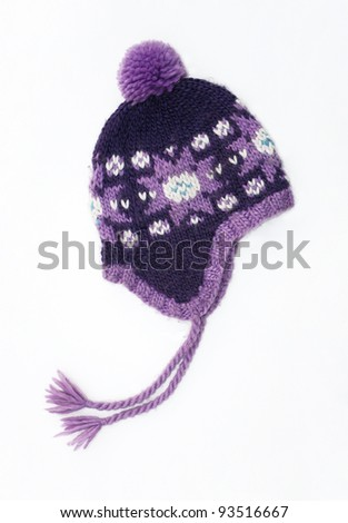 New Purple / lavender Knit Wool Hat with Pom Pom isolated on white background