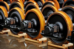 New railway wheels on the factory line