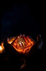 New Ramadan and Eid al fitr Islamic Decorative Background 2021, holding Arabic Traditional lantern light lamp, Eid Mubarak Colorful Light Decoration
