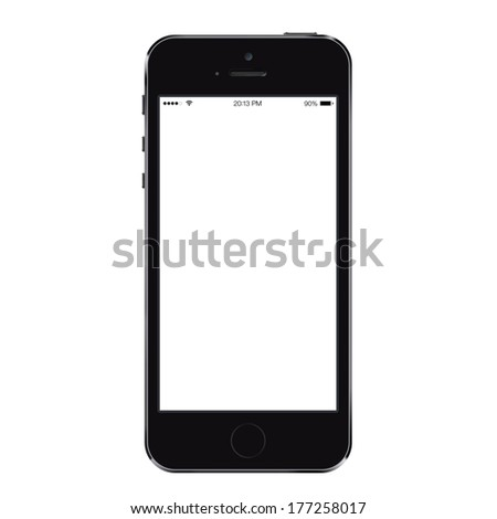 New realistic mobile phone smartphone iphon style mockup with blank screen isolated on white background