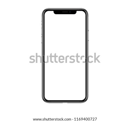 New realistic mobile phone smartphone mockup similar to iphon x with blank screen isolated on white background
