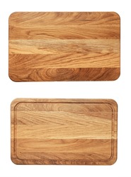 new rectangular wooden cutting board, top view, isolated