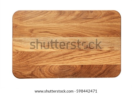 Photo of  new rectangular wooden cutting board, top view, isolated