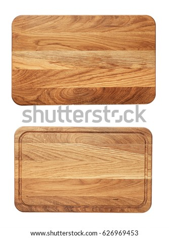 new rectangular wooden cutting board, top view, isolated #626969453