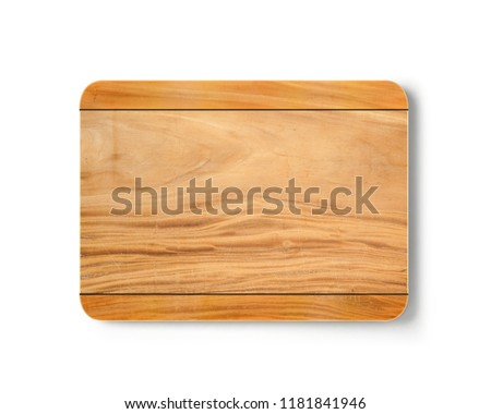 New rectangular wooden cutting board, top view on white background