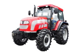 New red agricultural tractor isolated on white background With clipping path