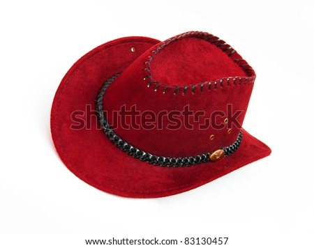 New Red Cowboy Hat - stock photo