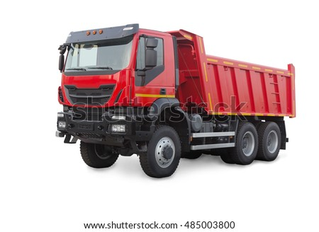new red dump truck isolated on white #485003800