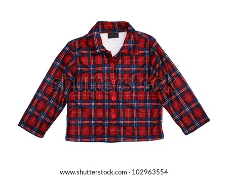 New red plaid cotton shirt with blank label isolated on white background