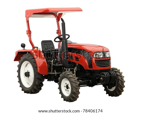 New red tractor isolated over white. With clipping path.