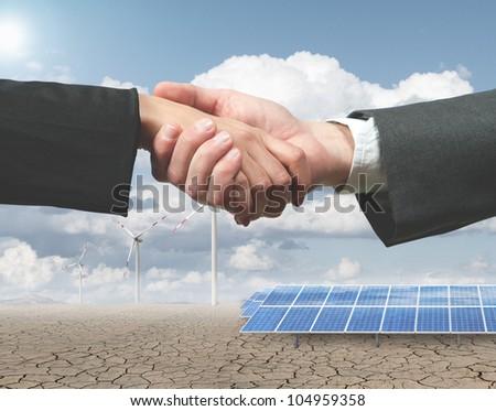 New renewable energy project with handshake