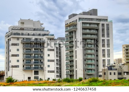 New residential area in Israel. Modern residential apartment buildings and private houses