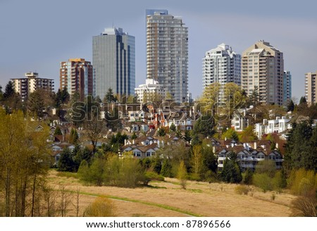 New residential buildings in Burnaby, BC, Canada