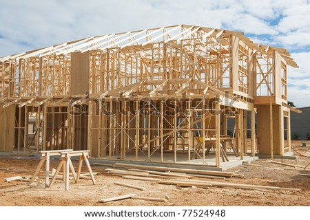 New residential construction home framing.Construction site