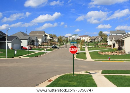 New Residential Homes in a Subdivision