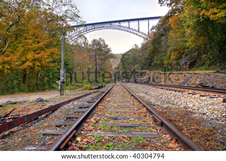 New River Gorge bridge and train tracks in Autumn season