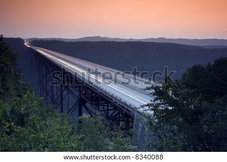 New River Gorge Bridge during sunset. West Virginia USA.