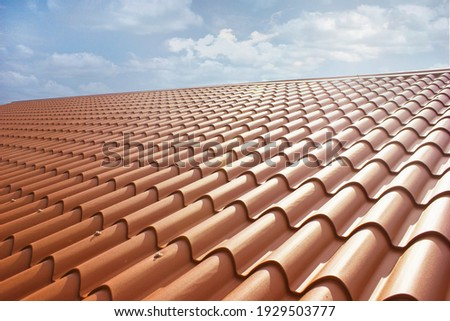 New roof, in sandwich panel similar to the tile, more beautiful and insulated Foto stock ©