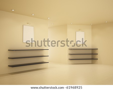New room, clean interior, few shelves, 3d illustration - stock photo