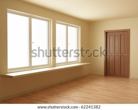 New room, with wooden floor and door, 3d illustration
