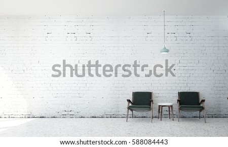 New scene 3d rendering interior design of living room and white brick wall