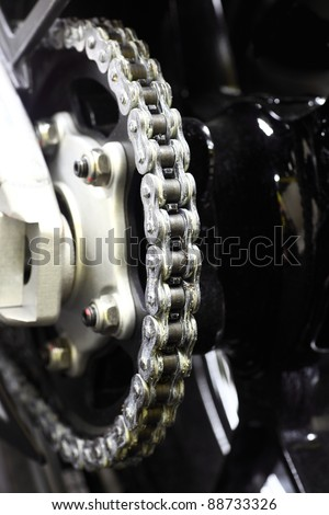 New shiny sport motorcycle chain