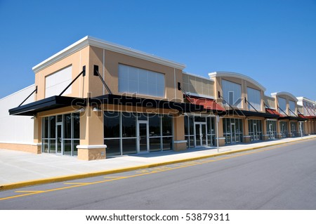 New Shopping Center with Retail and Office  Space available for sale or lease - stock photo