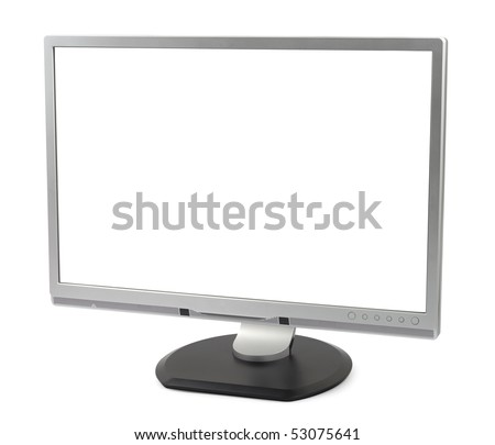 New silver computer monitor isolated on white background with clipping path.