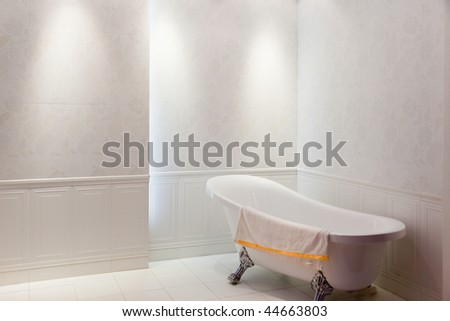 New simple modern bath with bathtub inside
