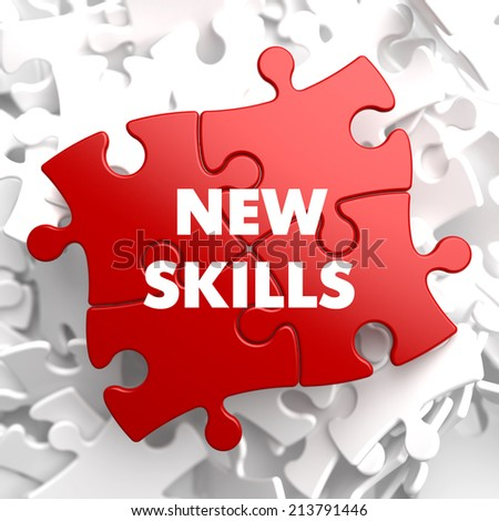 New Skills on Red Puzzle on White Background.