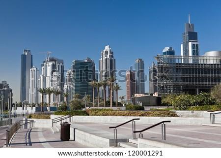 New skyscrapers in Dubai marina in United Arab of Emirates