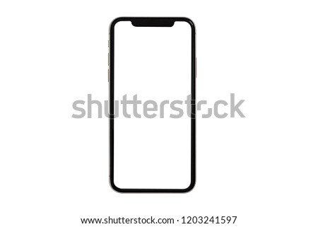 New smartphone  with blank screen isolated on black background. Flat lay, top view. #1203241597