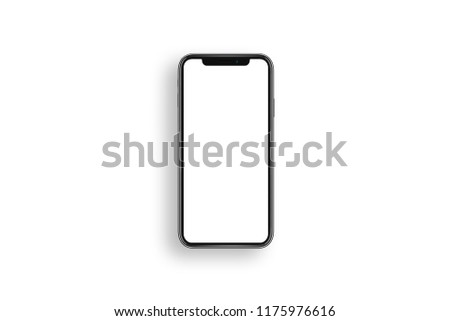 New smartphone XS with blank screen isolated on white background. Flat lay, top view. #1175976616