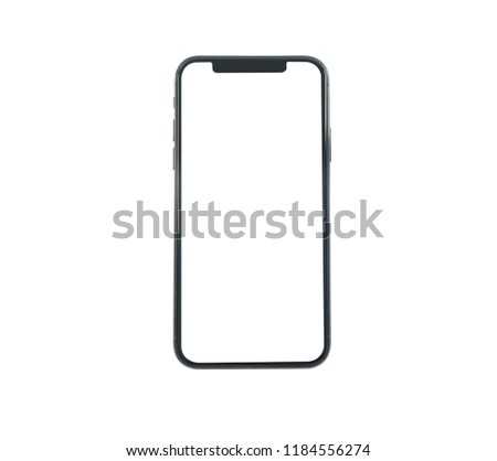 New smartphone XS with blank screen isolated on white background. Flat lay, top view.