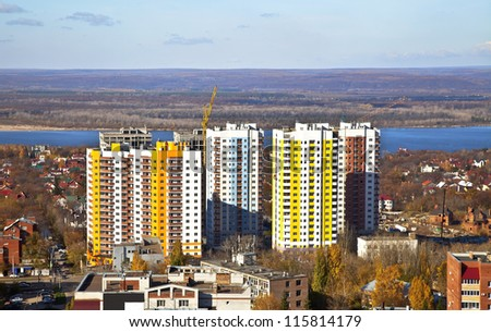 New Social apartment buildings in the residential area of Samara. Construction in the area of ??private houses on the banks of the Volga river.