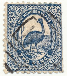 NEW SOUTH WALES, AUSTRALIA - CA. 1888: Commemorative stamp for one hundred years Australia showing national cultural icon the emu bird.