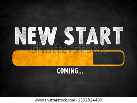 NEW START coming - chalkboard concept