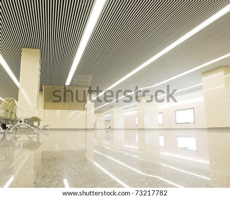 New subway station lobby hall empty.