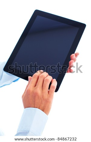 New tablet computer. Isolated over white background.
