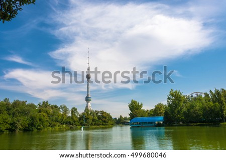 New Tashkent television tower on the banks of a beautiful lake in height 375 meters.