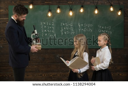 new technology. new technology of school education. girl at school lesson with new technology. new technology for science. achieving best results #1138294004