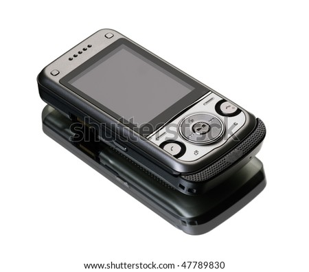 New technology smart phone. Silver mobile phone on white background with reflection