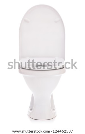 New toilet bowl isolated on white background - stock photo