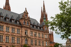 New town hall and market church in Wiesbaden, Germany